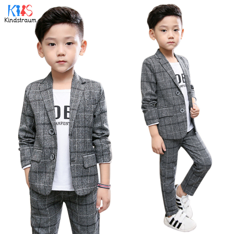 Kindstraum 2pcs Boys Gentleman Formal Suits Striped Fashion Blazer+Pant Kids Wedding Suits Children Party Clothing Sets, MC929 boys clothing set striped vest pant shirt suits formal outfits kids school uniform baby children wedding party boy clothes sets