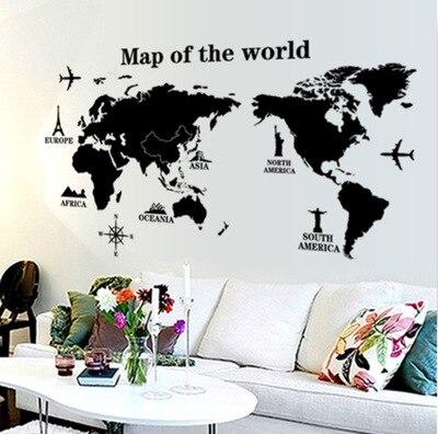 Mapa světa Nástěnná samolepka Dekorace Nástroj pro obývací pokoj, Dům Zdobené Samolepka Značka z PVC materiálu