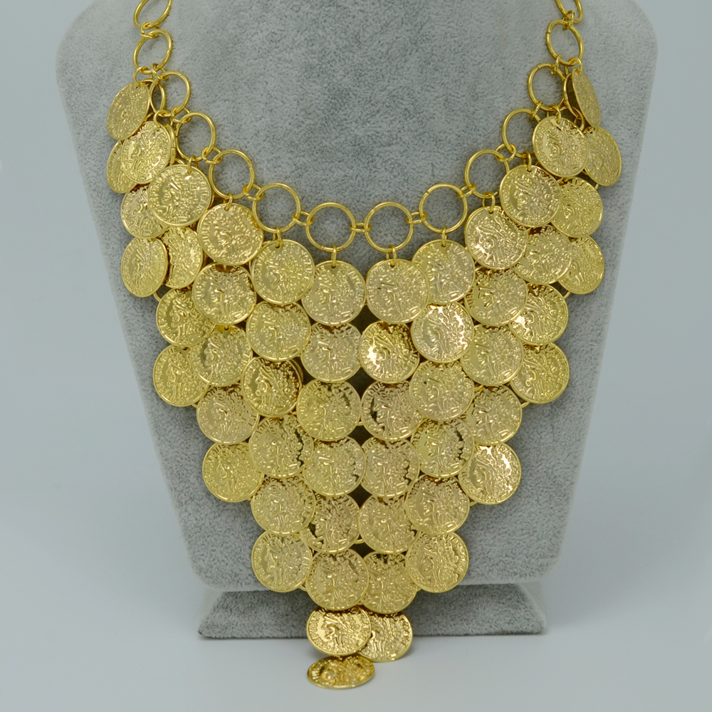 45CM 5CM Gold Coin Necklace for Women New Metal Coin Big Necklaces Africa Jewelry Ethiopian Gold