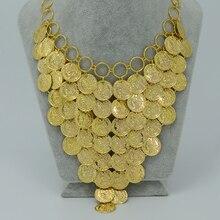 45 CM + 5 CM/Moneda de Oro Collar para Las Mujeres, Nuevo Metal Coin Collares Grandes de África Joyería Etíope Oro Suerte Regalo #006006