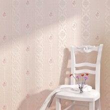 ورق حائط ذو خطوط رأسية وردية دافئة عالية الجودة لغرفة المعيشة وغرفة النوم ثلاثية الأبعاد ورق حائط أوروبي غير منسوج على شكل زهرة رعوية