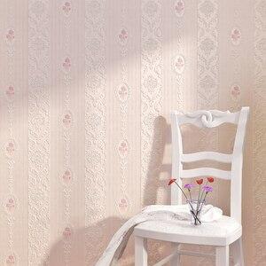 Image 1 - Di alta qualità caldo rosa strisce verticali carta da parati soggiorno camera da letto 3D Europeo pastorale fiore non tessuto carta da parati TV posteriore
