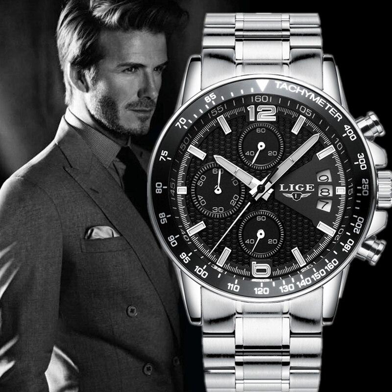 где купить  LIGE Luxury Brand Watches Men Six pin Full steel Military Sport Quartz Watch Man Casual Business Wristwatches Relogios Masculino  по лучшей цене