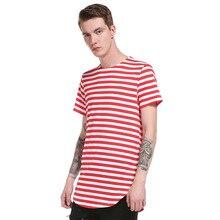 mens long t shirt short sleeve  men's Hip Hop longline striped t-shirt tops 2019 brand tee tshirts men undershirt XXL