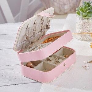Image 4 - Caixa de jóias de viagem portátil de dupla camada de couro do plutônio expositor organizador caso de armazenamento para brincos colar anéis