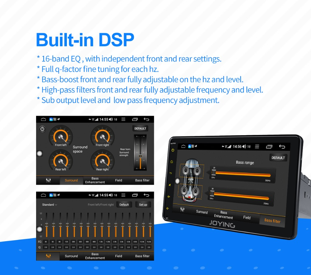 JOYING 1 din 8'' touch screen android 8 1 autoradio stereo bluetooth audio  head unit GPS tape recorder with carplay DSP 4GB RAM