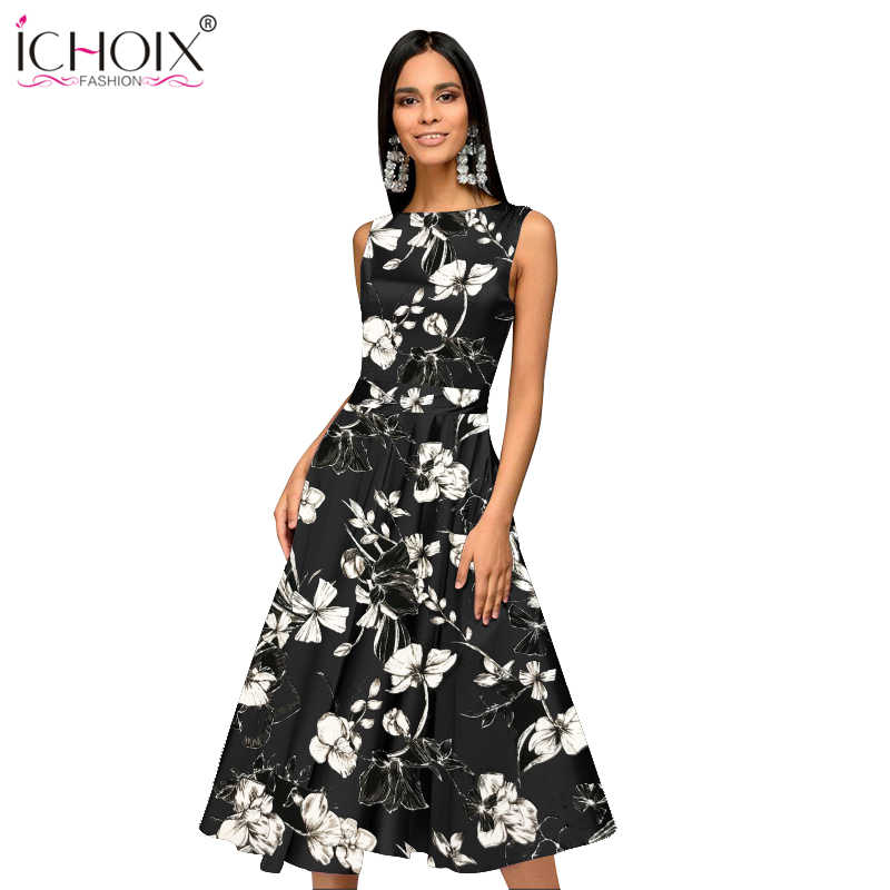 3512e0e09df4b Bohemian Floral Print 2019 Summer Women Dress Sleeveless Casual A-Line  Party Dress Hepburn Style Retro Dresses Elegant Sundress