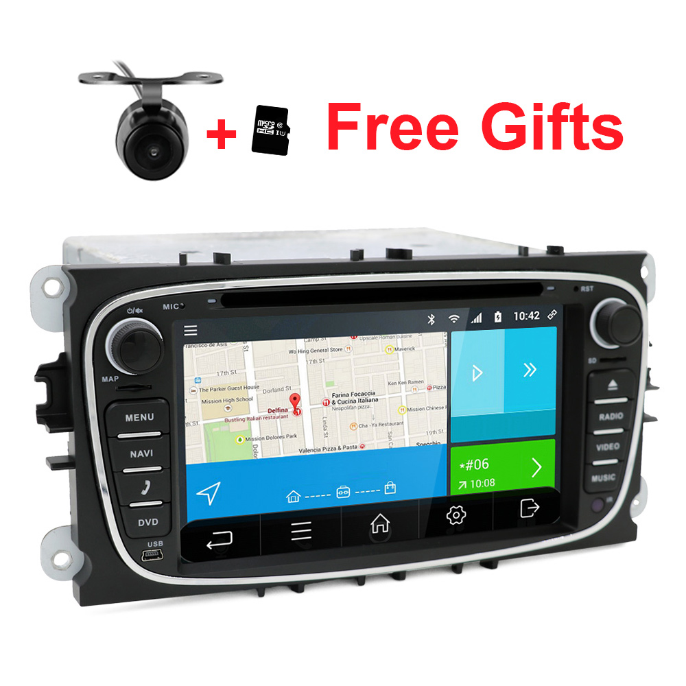 2 din Android 6.0 Quad Core  Car DVD Player GPS Navi for Ford Focus Mondeo Galaxy with  Audio Radio Stereo Head Unit автомобильный dvd плеер joyous kd 7 800 480 2 din 4 4 gps navi toyota rav4 4 4 dvd dual core rds wifi 3g
