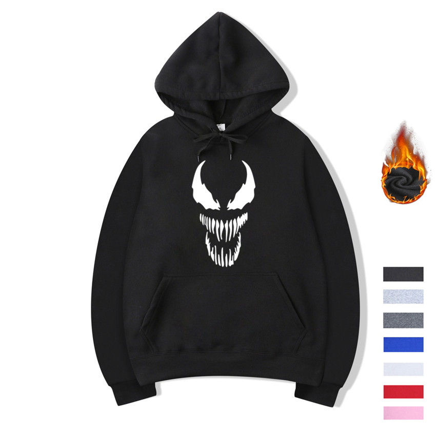 Unisex Movie Venom Fleece Winter Cotton Hoodies Sweatshirts Antumn Men and Women Cartoon Comic Sweatshirts Hoodies Women Hoody
