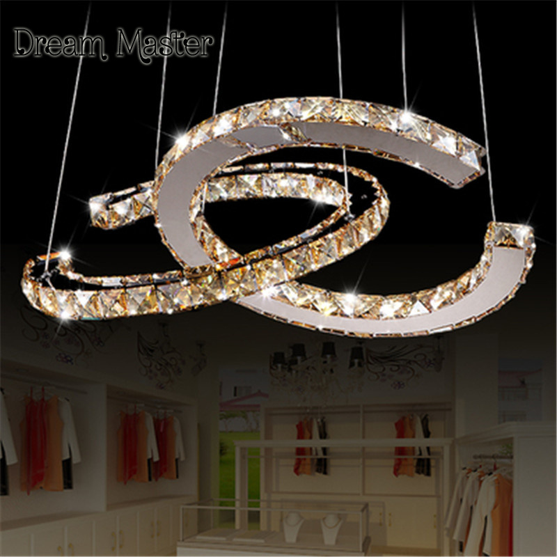 Stainless steel crystal lamp modern led creative personality chandelier living room clothing shop bedroom lighting Postage free
