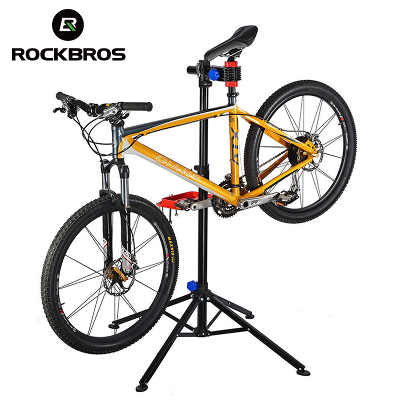 ROCKBROS 100-164 CM Adjustable Bike Floor Repair Stand Portable Aluminum Alloy MTB Bicycle Cycling Rack Holder Maintenance Tools 44pcs set mountain bike patchs maintenance repair box diagnostic tools kit valuables cycling chain case bicycle accessories