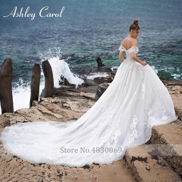 Ashley Carol A-Line Wedding Dress 2021 Sweetheart Beaded Appliques Lace Up Bride Dresses Cathedral Vestido De Noiva De Princesa 2