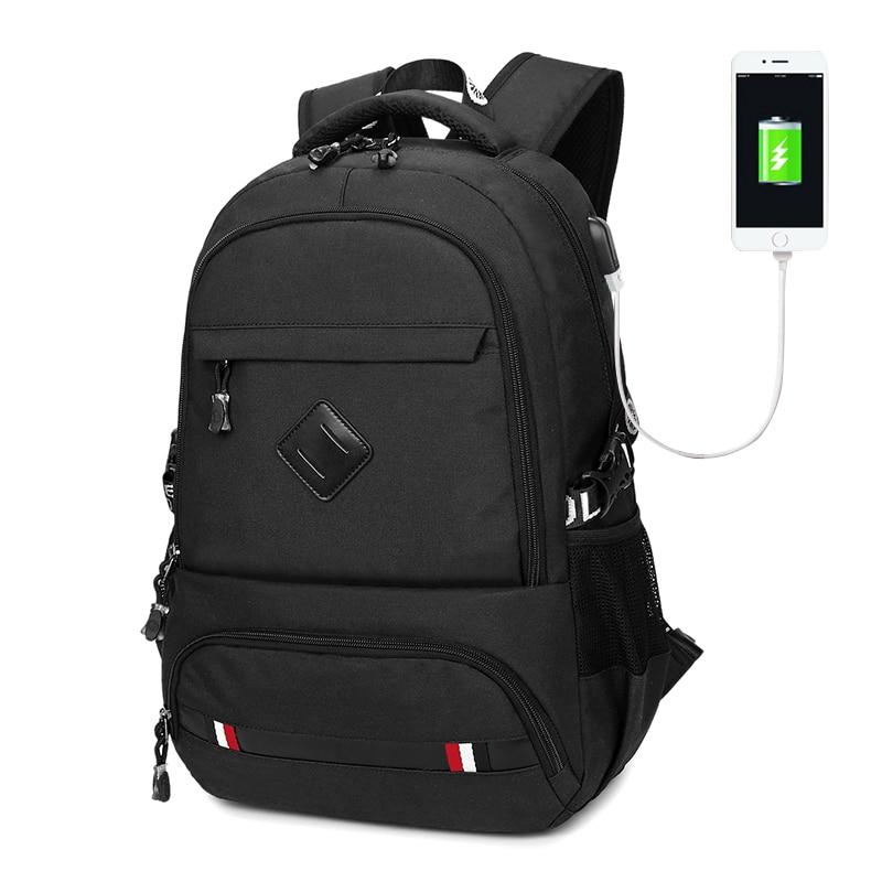 حقيبة ظهر OCEHNUU الرجال 15.6 بوصة الكمبيوتر المحمول أكسفورد الرجال حقيبة الظهر Bagpack USB شحن الحقائب المدرسية للمراهقين ماء أسود