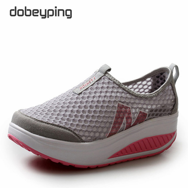 b71ce4b4aa8f Summer Women s Casual Shoes Sport Fashion Walking Flats Height Increasing  Women Loafers Breathable Air Mesh Swing Wedges Shoe