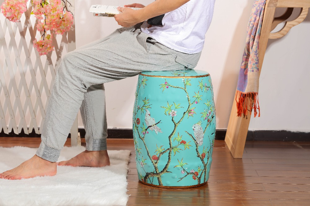 Home decoration blue furniture ceramic garden Chinese stool