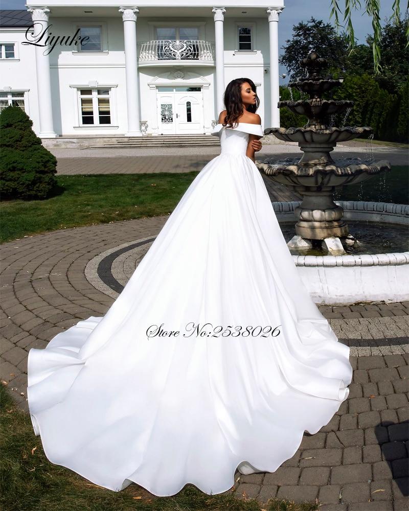 Image 4 - Liyuke Pure White Elegant  Satin A Line Wedding Dress With Folden V Neckline Off The Shoulder Wedding Gown-in Wedding Dresses from Weddings & Events
