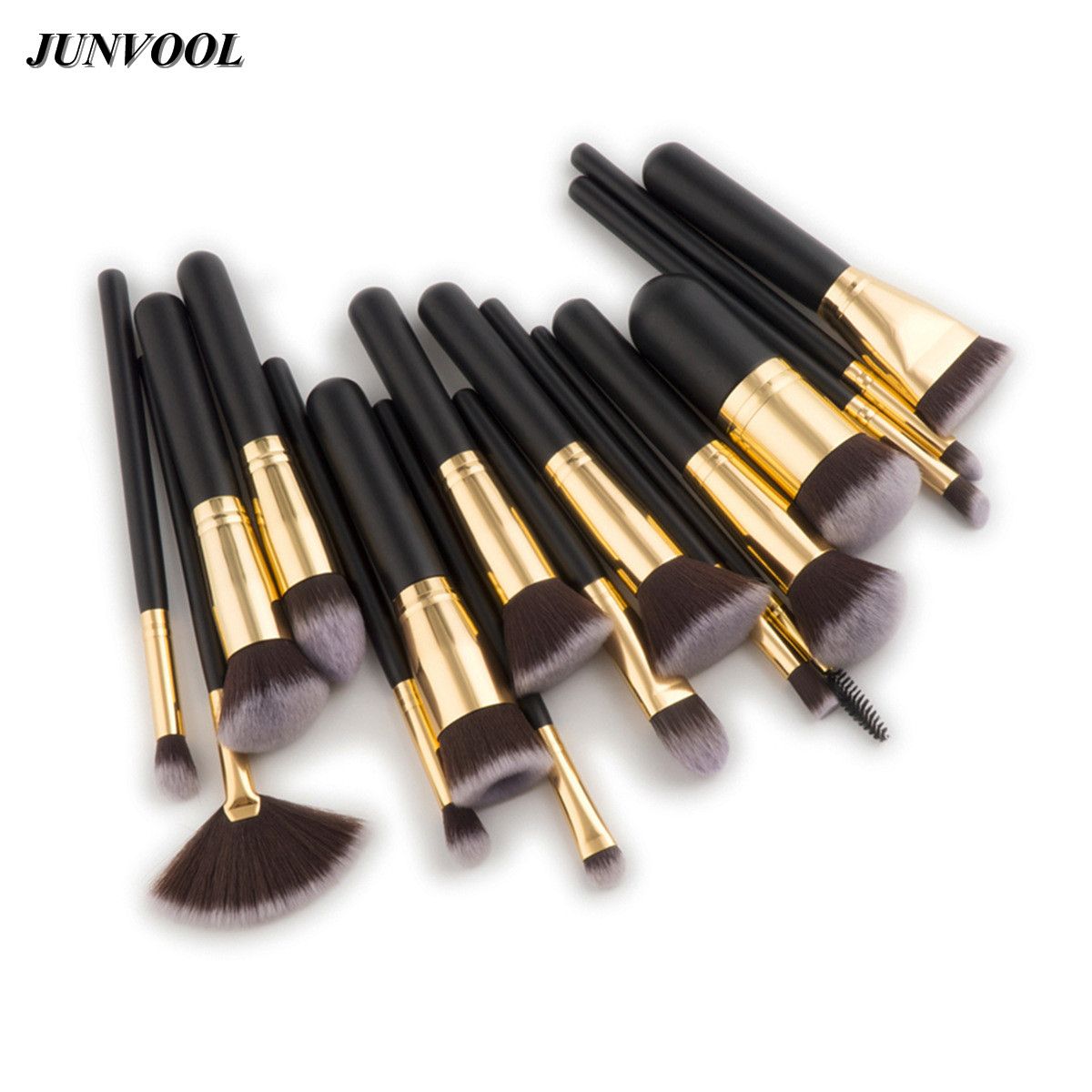 17pcs Makeup Brushes Tools Syntehtic Hair Black Gold Handle Portable Brush Set High Quality Beauty Full Professional Make Up Kit nature hair makeup brush set 22pcs high quality red beauty tools kit with case