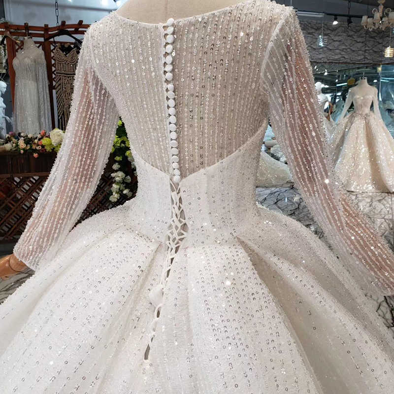 HTL346 new Wedding Dress like white square neck button back long tulle sleeves bridal gown with wedding veil promotion discount