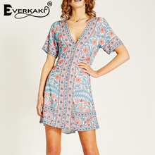 Everkaki Gypsy Print Mini Dress Women V Neck 3 Colors Available Vintage Boho Short Summer Dresses Female 2019 Autumn New