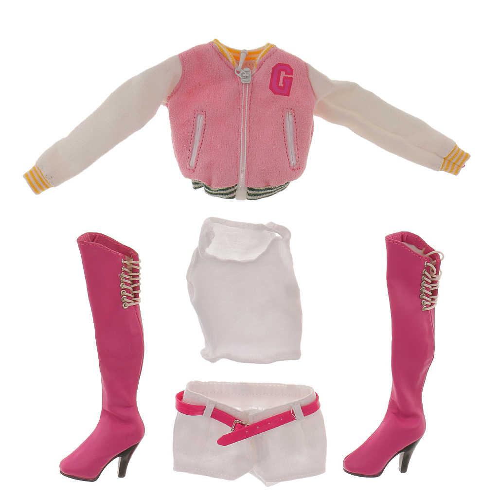 1/6 розовый бейсбольное пальто жилет брюки с ботинками комплект одежды для 12 'Phicen Горячая CY CG Игрушки для девочек Женская одежда Замена