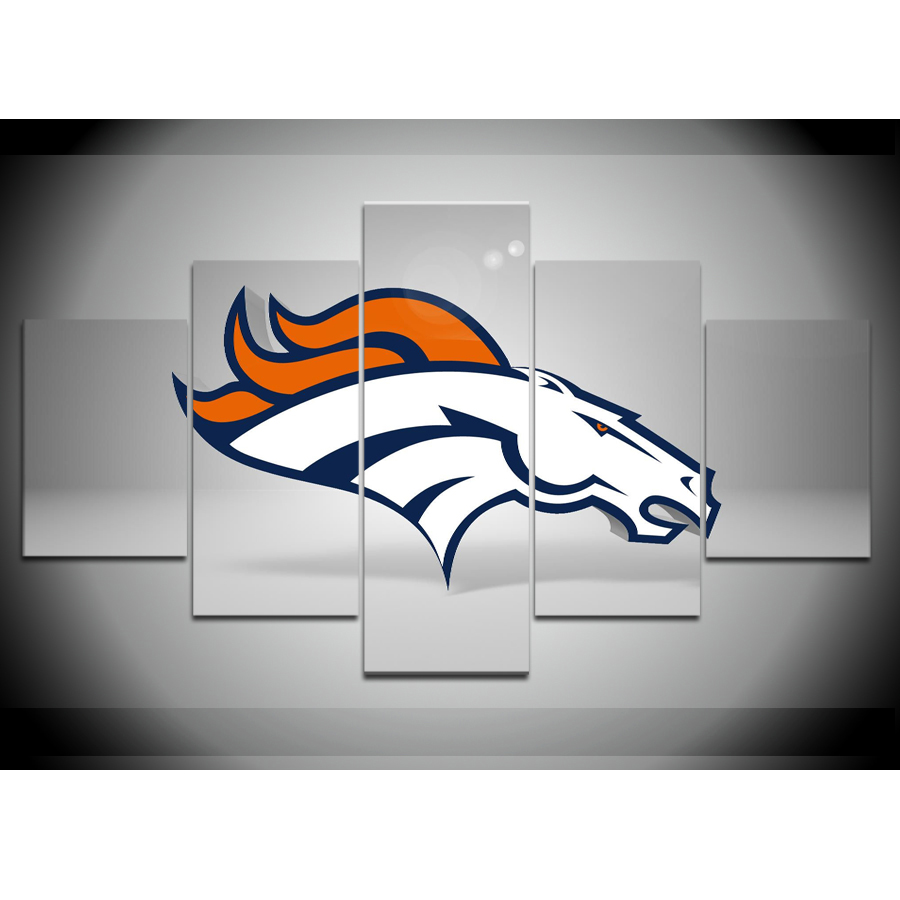 5 Pieces Denver Broncos Classic Poster Canvas Print Painting Modern ...