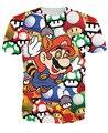 Женщины/Мужчины Мультфильм 3D Мода Super Mario на Грибы Футболка ти Марио психоделических наркотиков жевать волшебные грибы Футболки Тройники