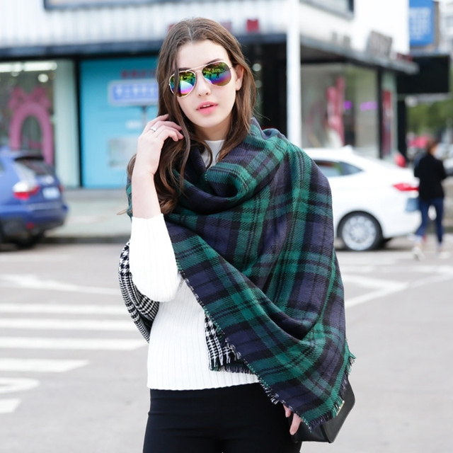 64b7ed7093633 Luxury Red/Green plaid Scarves Winter Fashion Woman's Oversized Cashmere  Shawl Wrapped in Warm Blankets Square Scarf For women