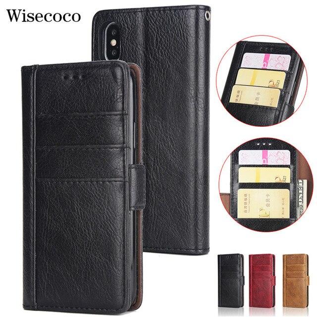 Raccoglitore di Cuoio di lusso di Caso per Il Iphone 8 7 6 6S Plus Slot Card Supporto Del Basamento di Vibrazione Magnetica 360 Libro cover per Iphone X XS MAX XR