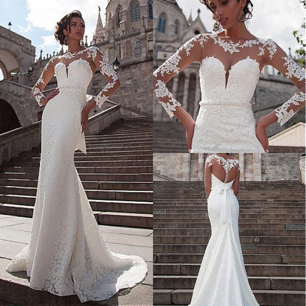 New Design 2019 Exquisite Lace Wedding Dress with Long Sleeve Illusion Neck and Back Mermaid Bridal