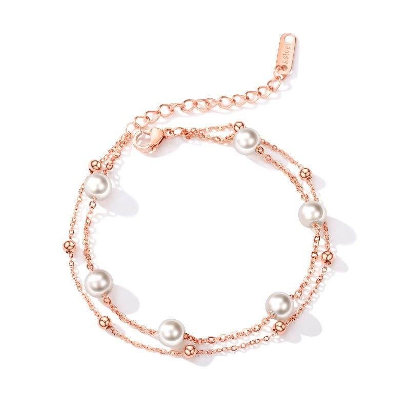 Купить женский браслет с искусственным жемчугом из нержавеющей стали