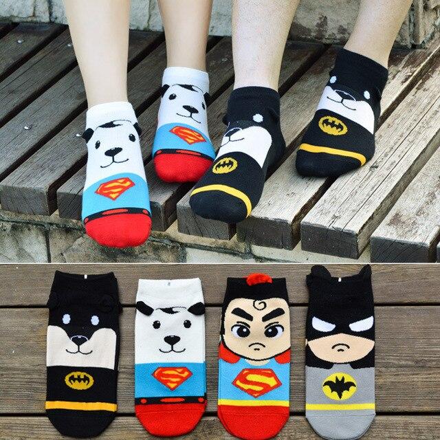 Spring Summer Cartoon Men&Women Short Socks Marvel Superman Batman Boat Socks Funny Kawaii Colorful Ankle Sock
