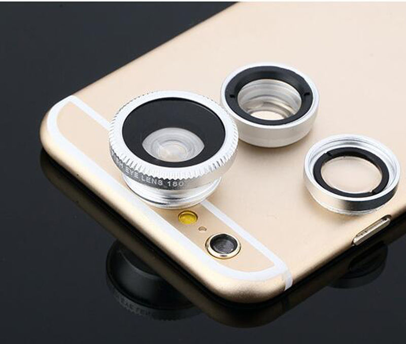 Fisheye Lens 3 in 1 mobile phone clip lenses fish eye wide angle macro camera lens for iphone 6 6s plus 7/7 plus xiaomi huawei 5