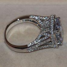Tamaño 5-11 pavimenta configuración joyería venta al por mayor 192 unids zafiro blanco 14kt gold filled simulado banda diamante anillo juego de regalo