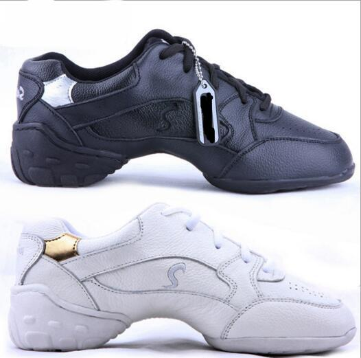 Professional Women Dance Shoes Sneakers Ladies Läder Fyrkant Line Dance Shoes Vit Svart Modern Jazz Dance Shoes