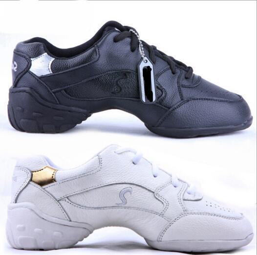 Wanita Profesional Tarian Kasut Kasut Sneakers Wanita Kulit Square Talian Tarian Kasut White Black Moden Jazz Kasut Tarian
