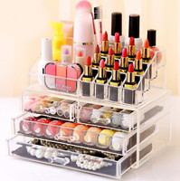 1pc Acrylic 3 Layer 4 Drawer Makeup Organizer Storage Box For Cosmetic Jewelry Display Rangement Maquill Color Clear