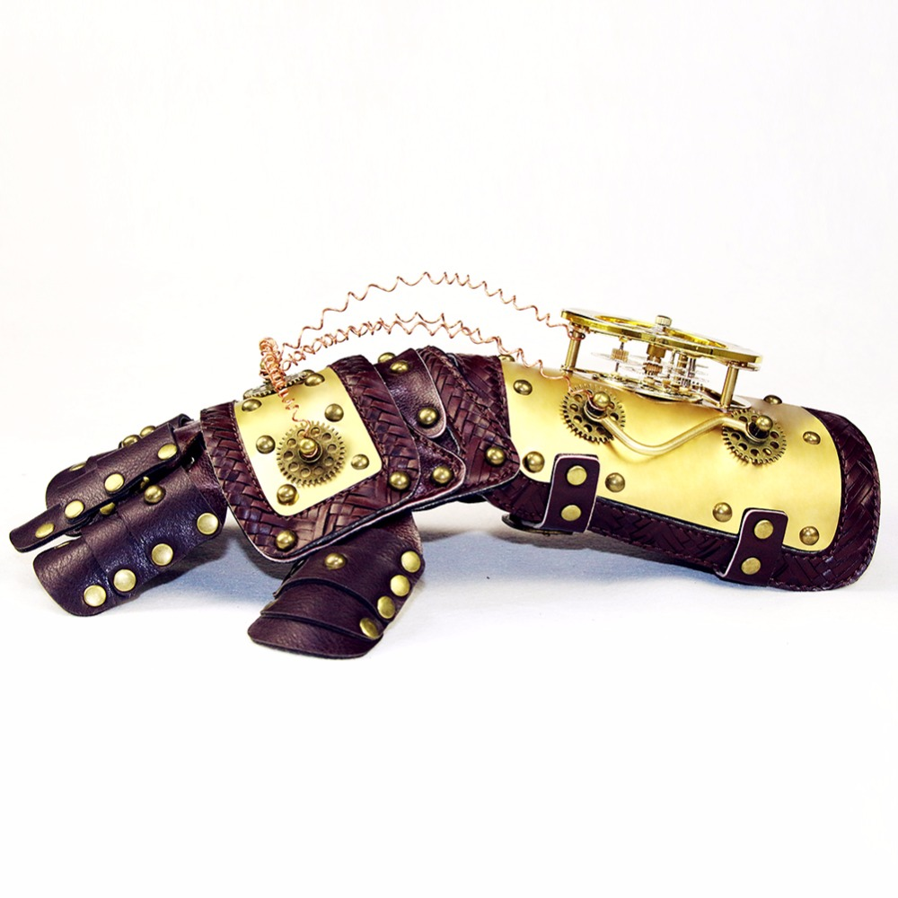 Gear Duke High Qualilty Vintage Industrail Age Mechanical Gears Steampunk Mechanical  Leather Gloves Arm Dance Party Party Props