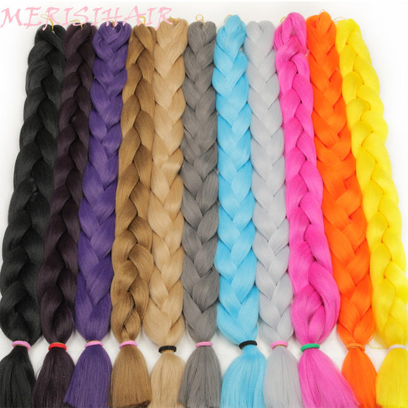 Brilliant Merisi Hair 82 Inch Synthetic Kanekalon Braiding Hair One Peice 165g Crochet Jumbo Braids Hair Extensions 29 Colors Available Fashionable Patterns Hair Braids