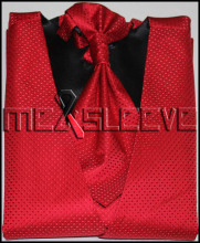 Mens Suit Tuxedo Dress red small dot bridegroom Vest (vest+ascot tie+handkerchief+cufflinks)