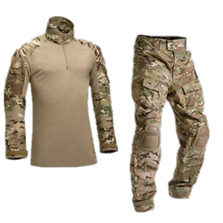 Army Tactical Camouflage Military Uniform Clothes Suit Men US Army clothes Military Combat Shirt + Cargo Pants Knee Pads