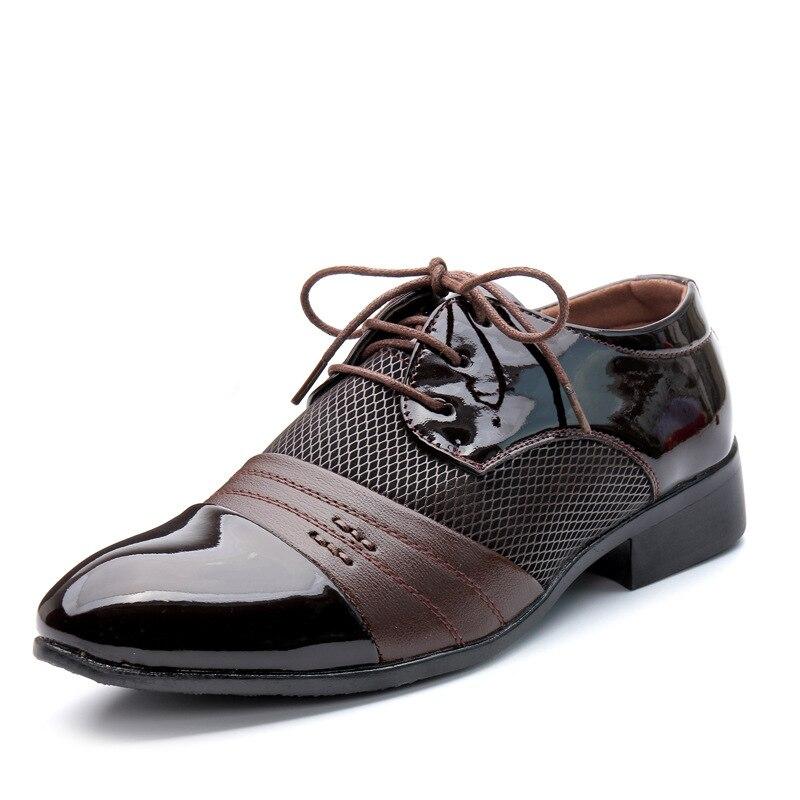 2018 Men Dress Shoes Plus Size 38-48 Men Business Flat Shoes Black Brown Breathable Low Top Men Formal Office Shoes