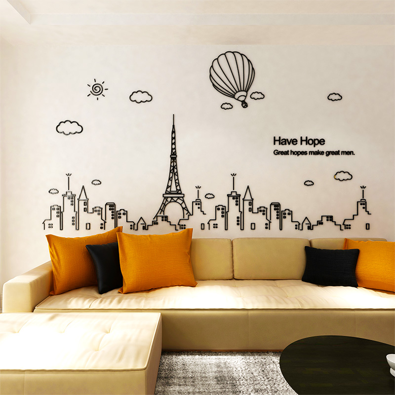 Remarkable Us 12 48 52 Off Fashion Building Set Diy Wall Stickers Black 3D Sticker Sofa Tv Background Wallpaper Art Decor Mural Acrylic Stereo Wall Sticker In Pabps2019 Chair Design Images Pabps2019Com