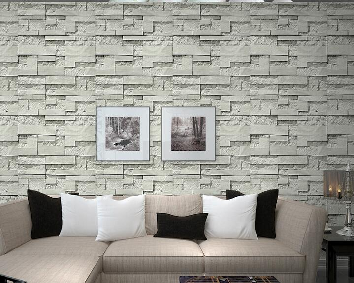 Pvc Vinyl Modern Faux Brick Stone 3d Wallpaper Living Room