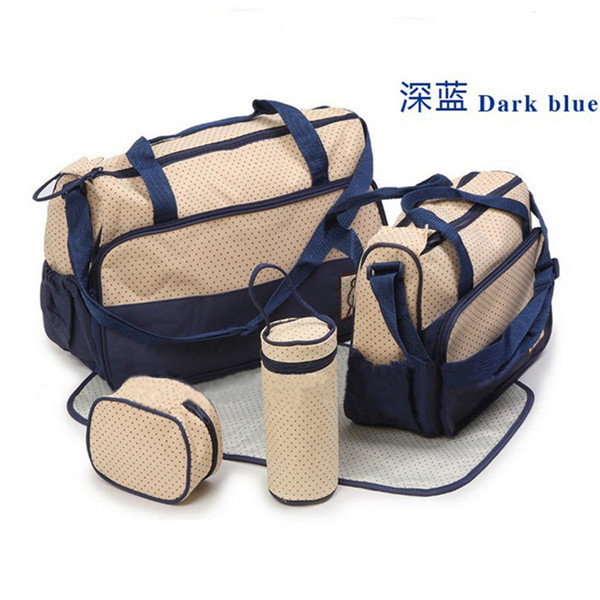 Mother Infant Cipate Mummy Babies Bags Nappy Bag MultiFunctional Double-shoulder Cross-body 5 Piece Set Messenger Bag