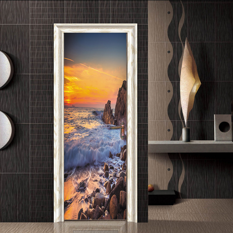 Creative Sea spray Sunrise scenery Landscape Wallpaper Mural Wall Stickers Door Sticker Decals Living Room Home Decoration ZB105