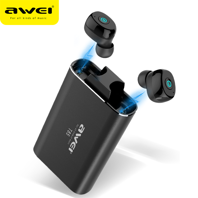 AWEI T85 TWS Sans Fil oreillettes bluetooth 5.0 1800 mAh batterie externe Mini écouteurs bluetooth Casque Avec Double Microphone Pour Téléphone