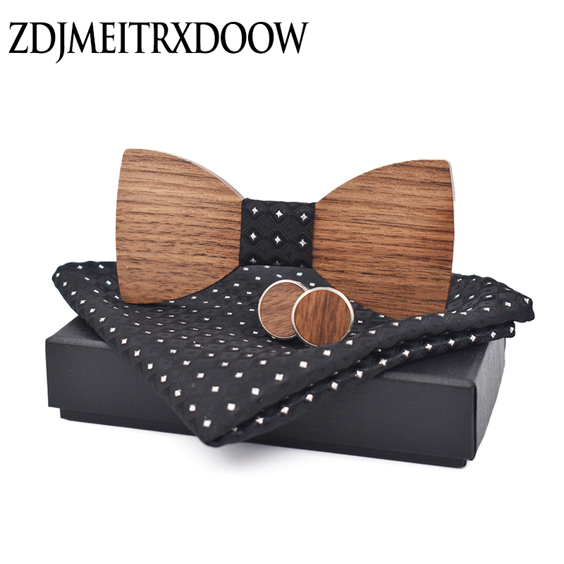Ties For Men 2018 Wood Bowtie Jacquard Woven Tie Hanky Cufflinks Set For Business Wedding Party Free Shipping