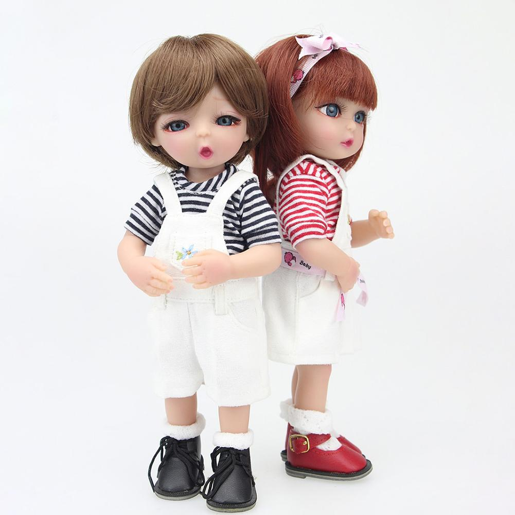 Fashion 25cm Vinyl Silicone Reborn Baby Boy Girl Doll with Overalls Suit Accompany Toy Fashion 25cm Vinyl Silicone Reborn Baby Boy Girl Doll with Overalls Suit Accompany Toy