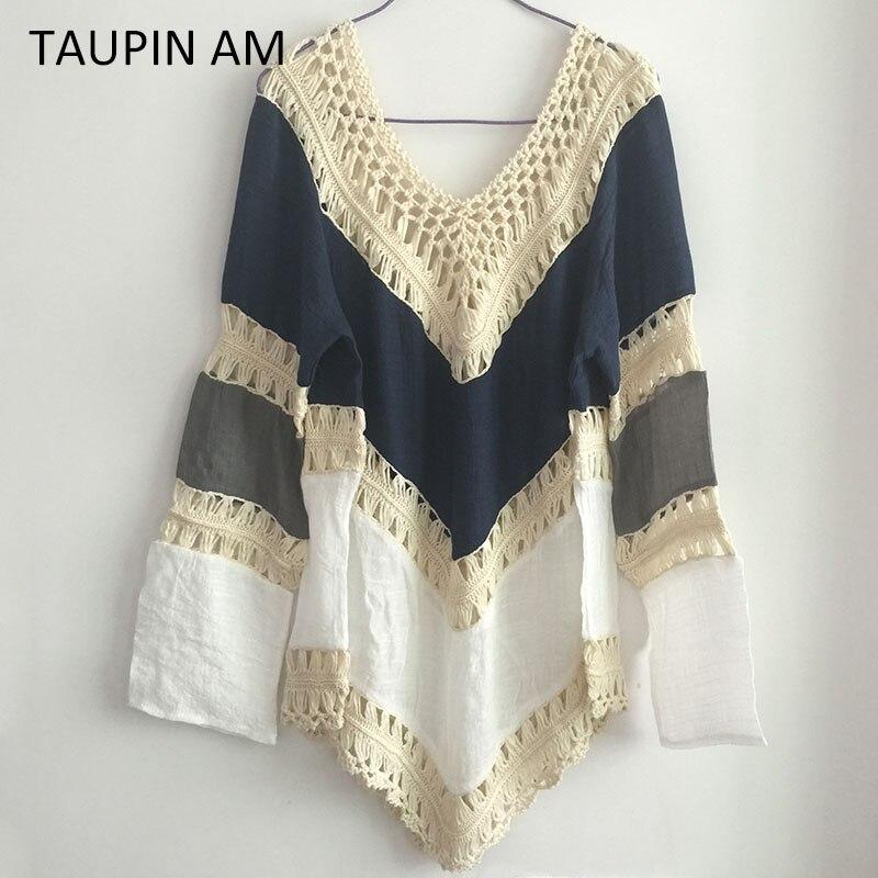 Estilo Boho playa crochet blusas de las mujeres camisas de manga ...