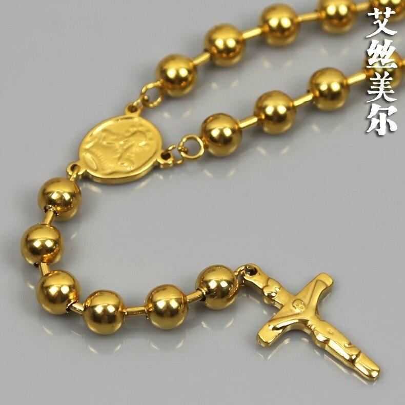 24K gold filled 8mm Beads Vintage Christ Cross Jesus Necklace High